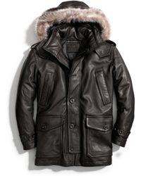 COACH Thompson Leather Snorkel Coat - Black