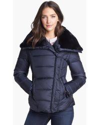 Dawn Levy Mackenzie Genuine Rabbit Fur Trim Down Jacket - Lyst