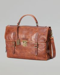 Frye Logan Buckle Leather Briefcase - Brown