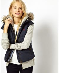 Jack Wills - Gilet with Faux Fur Trimmed Hood - Lyst