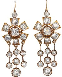 Olivia Collings - Rock Crystal Chandelier Drop Earrings - Lyst