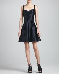 Zac Zac Posen Satin Fit Flare Dress Black - Lyst