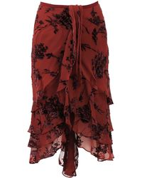 Zac Posen Layered Floral Burnout Skirt - Lyst
