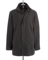 Calvin Klein Tweed Car Coat - Lyst