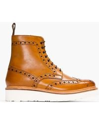 Grenson Tan Leather Double Sole Fred Brogue Boots - Lyst