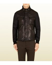 Gucci Black Leather and Nylon Jacket - Lyst