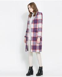 Zara Multicolor Checked Coat - Lyst