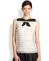 Carolina Herrera Night Collection Sequined Silk Bow Blouse - Lyst