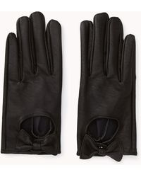 Forever 21 Standout Faux Leather Gloves - Black