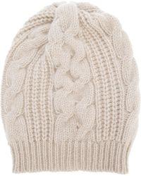 Laneus - Cable Knit Beanie - Lyst