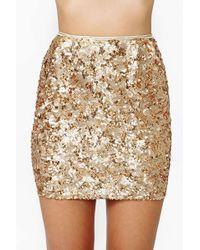 Nasty Gal Rare London Gold Crush Sequin Skirt - Lyst
