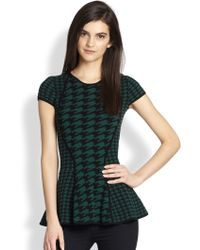 Torn Vivienne Paneled Houndstooth Knit Peplum Top - Green