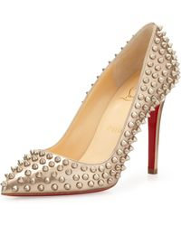 Christian Louboutin Pigalle Spikes Red Sole Pump Beigegold - Lyst