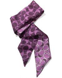 COACH Signature Metallic Ponytail Scarf - Purple