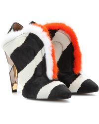 Fendi Minktrimmed Calf Hair Ankle Boots - Lyst