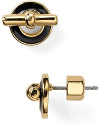 Marc By Marc Jacobs Tiny Enamel Toggle Stud Earrings - Metallic