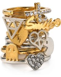 Material Girl - Twotone Emoticon Stackable Rings - Lyst