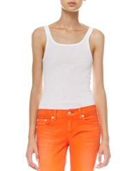 Ralph Lauren Ribbed Scoopback Tank White - Lyst