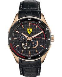 Scuderia Ferrari Men's Automatic Gran Premio Black Calfskin Leather Strap 45mm 830099