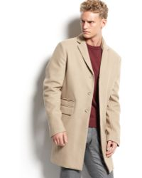 Calvin Klein Pattern Wool Coat - Lyst