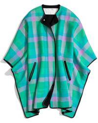 COACH Bonnie Check Blanket Cape - Green