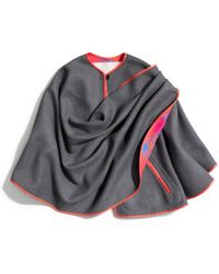 COACH Gray with Red Trim Wrap Cape