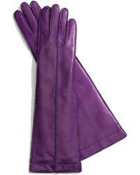 COACH Long Bonnie Stitch Leather Gloves - Purple