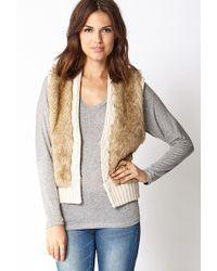 Forever 21 Faux Fur Cable Knit Vest - Lyst