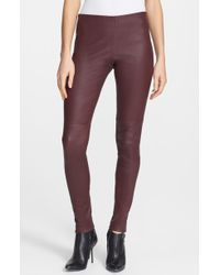 Theory Pialle Leather Skinny Pants - Lyst