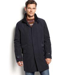Calvin Klein Navy Hooded Raincoat - Lyst
