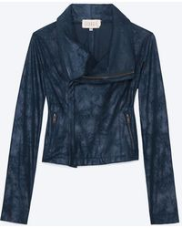 Georgie - Exclusive Leather Like Perforated Sleeve Moto Jacket Blue - Lyst