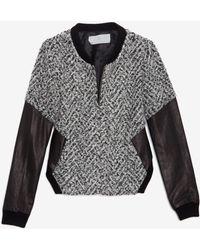 Thakoon Addition - Tweed Knit Leather Sleeve Jacket - Lyst
