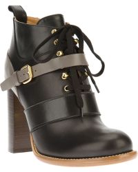 Chloé Laceup Ankle Boot black - Lyst