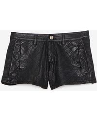 Lamarque - Exclusive Quilted Leather Short Black - Lyst