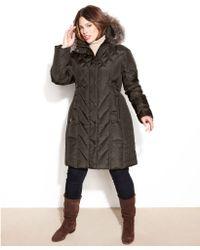 London Fog Hooded Faux Turtrim Jacket - Lyst