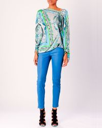 Emilio Pucci Leather Zip Skinny Pants - Lyst
