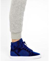 Supra - Skytop Blue Velvet High Top Sneakers - Lyst