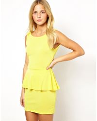 Wal-G Peplum Dress with Back Detail - Yellow