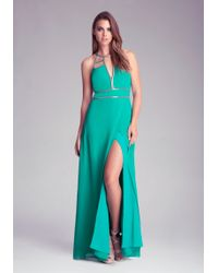 Bebe Halter Neck Chain Detail Dress - Lyst