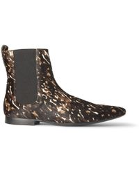Burberry Printed Calf Hair Chelsea Boots - Brown