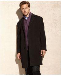Calvin Klein Plaza Brown Twill Cashmere-blend Overcoat - Lyst