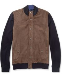 Façonnable Suede-front Cotton and Cashmere-blend Bomber Jacket - Brown