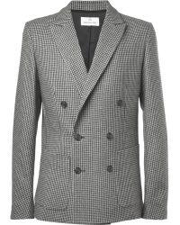 Hentsch Man Slimfit Unstructured Houndstooth Wool Blazer - Gray