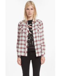 Maje Dispersio Plaid Cotton Shirt - Lyst