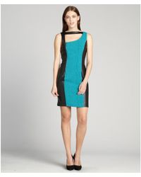 Marc New York Turquoise And Black Flocked Faux Leather Trimmed Open Back Dress - Lyst