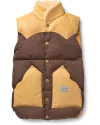 Neighborhood Rocky Mountain Featherbed Shearling-Collar Down-Filled Gilet - Brown