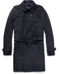 Paul Smith Doublebreasted Twill Trench Coat - Blue