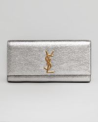 Saint Laurent Cassandre Metallic Logo Clutch Bag - Lyst