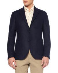 Slowear Montedoro Slimfit Unstructured Wool Blazer - Blue
