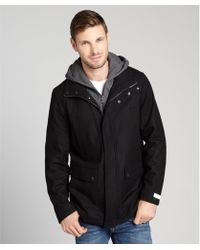Calvin Klein Zip Up Knit Hood Wool Coat - Lyst